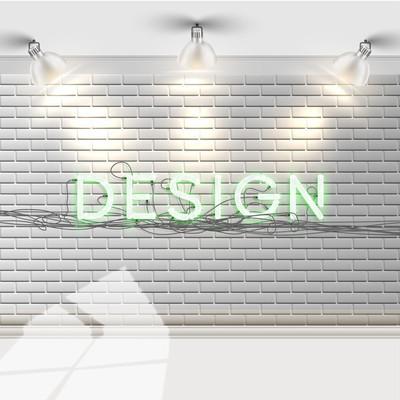 白色的砖墙与文字设计