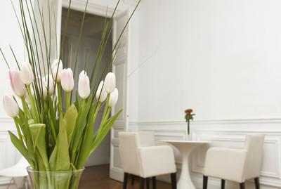 在白色房间家居室内的花朵