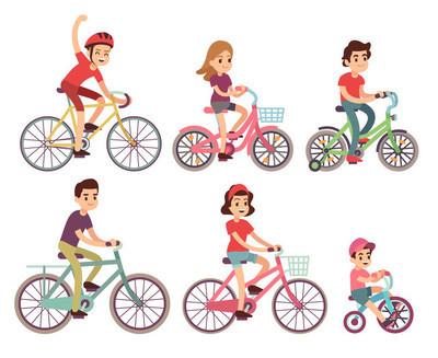 人们骑自行车。自行车平骑自行车矢量套装