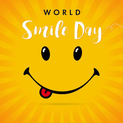 世界微笑日黄色条纹卡