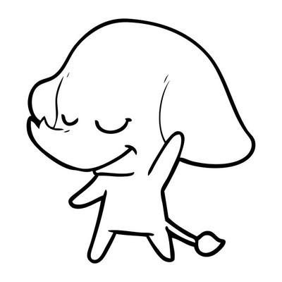 卡通微笑大象的矢量插图