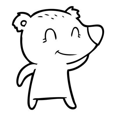 微笑熊卡通的矢量插画