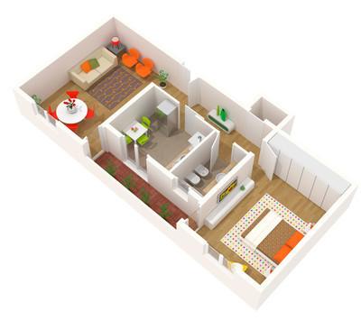 公寓设计-3d 平面图