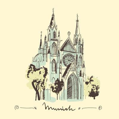 Sketch of St. Paul church in Munich.
