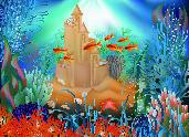 海底世界壁纸与 sandcastle,矢量图