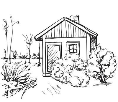 卡通手绘的房子。景观