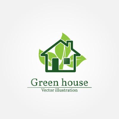 绿房子的标志。节能环保概念。矢量图