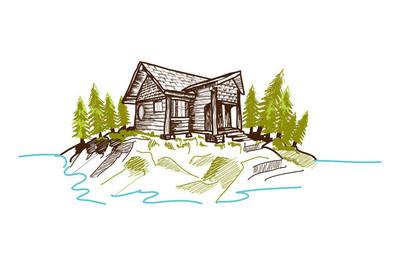手绘的山中小屋