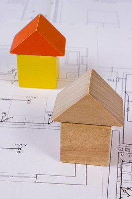 对施工图纸的房子,建筑房子概念的木块拼成的房子