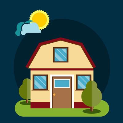 房屋平面图标。平面样式矢量图