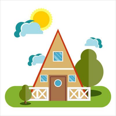 房屋平面图标。矢量图