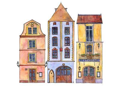 水彩绘画房子