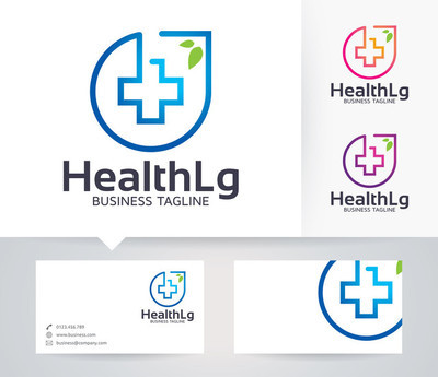 Health vector logo with alternative colors and business card template