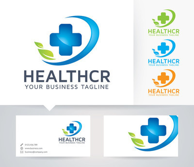 Health Care vector logo with alternative colors and business card template