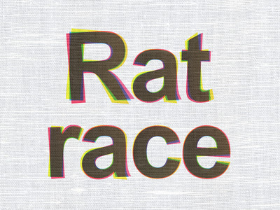 Business concept: Rat Race on fabric texture background