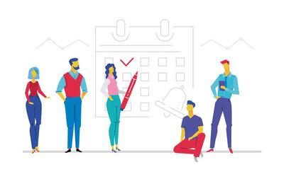 商务策划-平面设计风格多彩插画