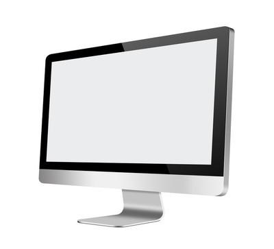 白色背景上的空白屏幕液晶电脑显示器