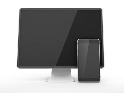 3d 空白屏幕显示器电视的例证查出在白色