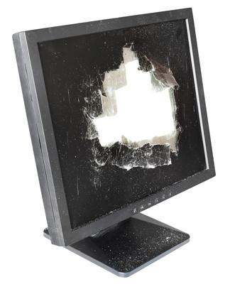 显示器侧面切出损坏屏幕