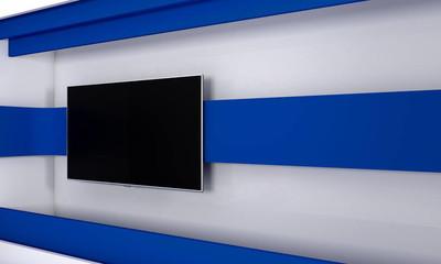 电视演播室。电视的背景显示。墙上的电视。新闻演播室。任何绿色屏幕或色度关键视频或照片生产的完美的背景。3d 渲染