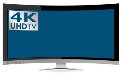 弯曲 4 k 到的超高清电视在白色背景上