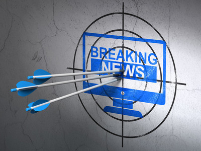 News concept: arrows in Breaking News On Screen target on wall background
