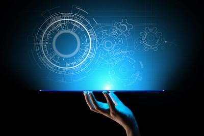 复制空间, 蓝图, 绘图, 设计, 在虚拟屏幕上的 cad。技术、商业、工业概念背景