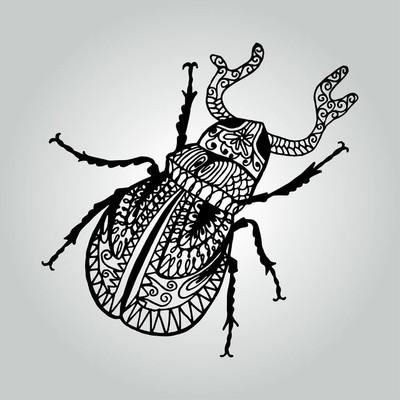 抽象涂鸦锹虫。野生动物集合