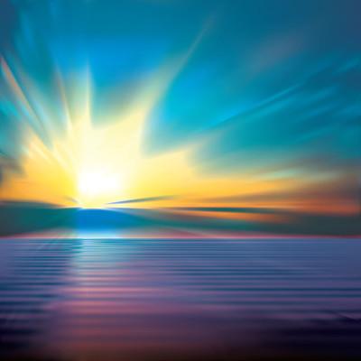 抽象背景与云层和海上日出