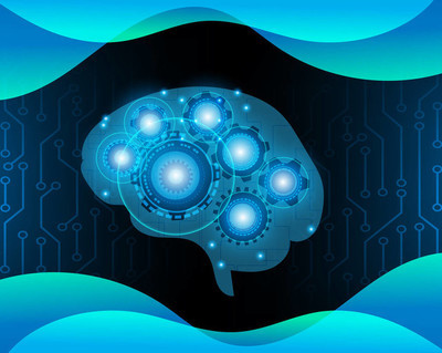 AI Robot brain, over electronic blue background,Artificial intelligence and Machine learning concept,Vector illustration