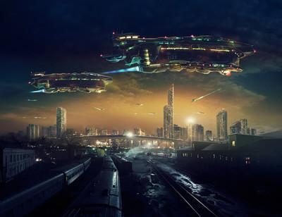 城市邮政世界末日景观与飞行的飞船