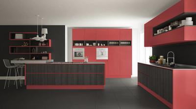 木制和红色的细节,简约现代白色厨房我