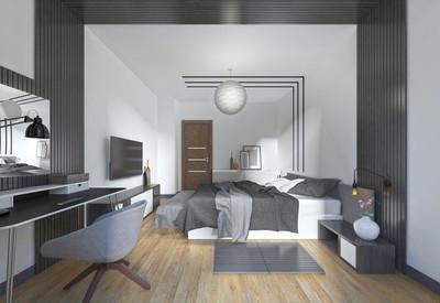 在黑色和 whi 的现代风格的豪华、 现代卧室