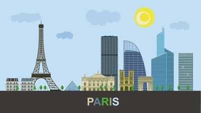 历史与现代建筑的巴黎。矢量图