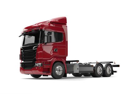 现代暗红色重型运输卡车无挂车