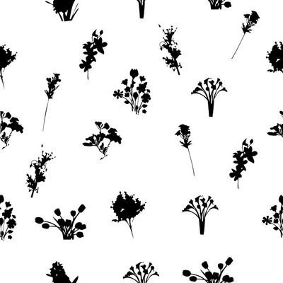 黑色和白色花朵图案