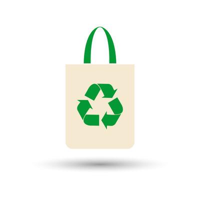 环保袋,袋与再循环符号-矢量
