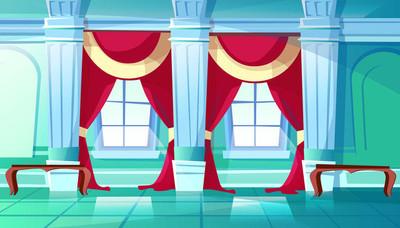 宴会厅或皇宫大厅矢量插图