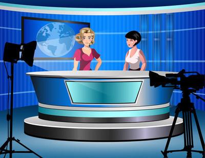 两个女人坐在演播室里的电视新闻报道