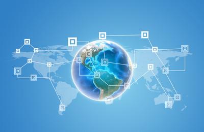 地球与世界地图和网络