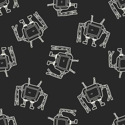 机器人的涂鸦无缝图案背景