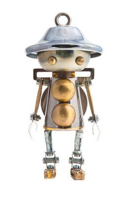 蒸汽朋克机器人。朋克风格。铬和青铜部件