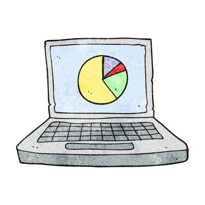 与饼图质感的卡通便携式计算机