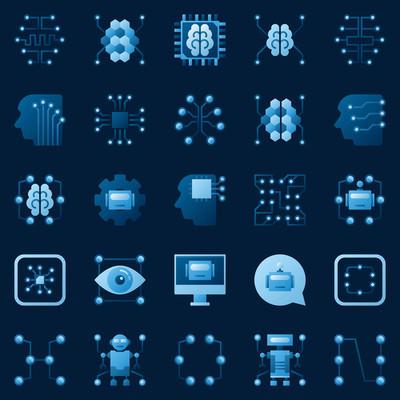 Ai 图标设置。矢量人工智能徽标元素
