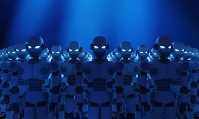 小组机器人在蓝色背景, 人工智能