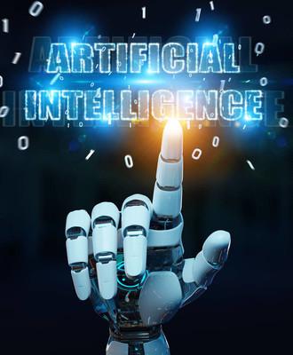 使用数字人工智能文本的白机器人手