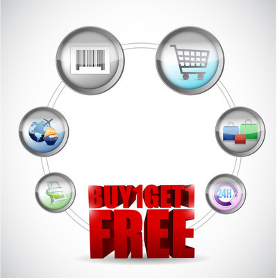 买一个,并获得一个免费的电子商务概念