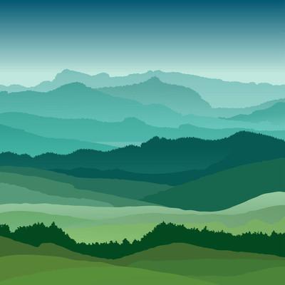 平坦的风景图。美丽的山丘,矢量设计