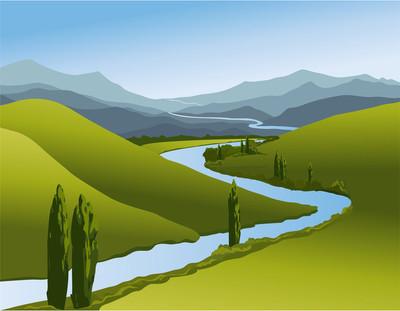山风景与河