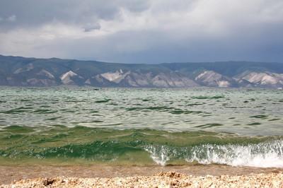 Clear green water of Lake Baikal